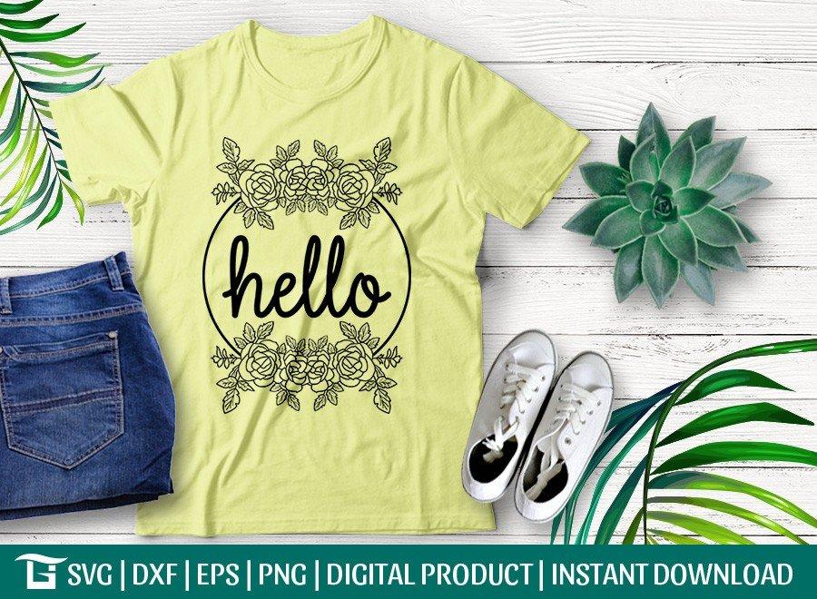 Hello Floral Wreath SVG | T-shirt Design