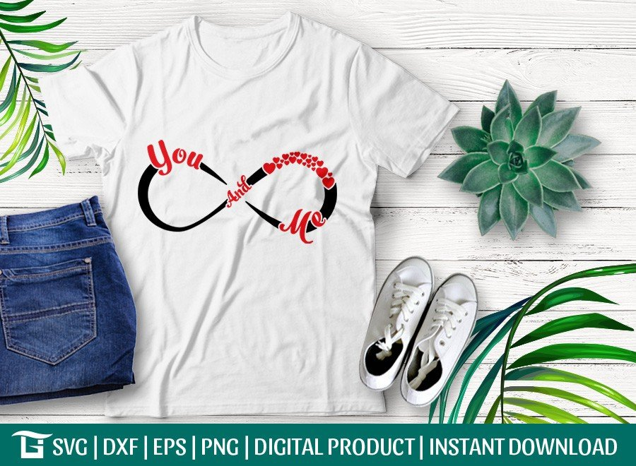 Infinity With You and Me SVG | Infinity Heart T-shirt Design