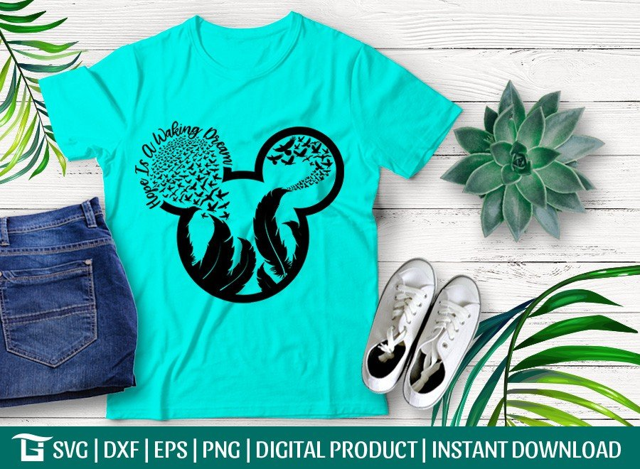 Hope Is a Waking Dream SVG | Mickey Head with Feather