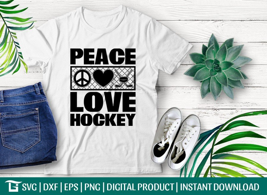 Peace Love Hockey SVG | Sports Lover SVG