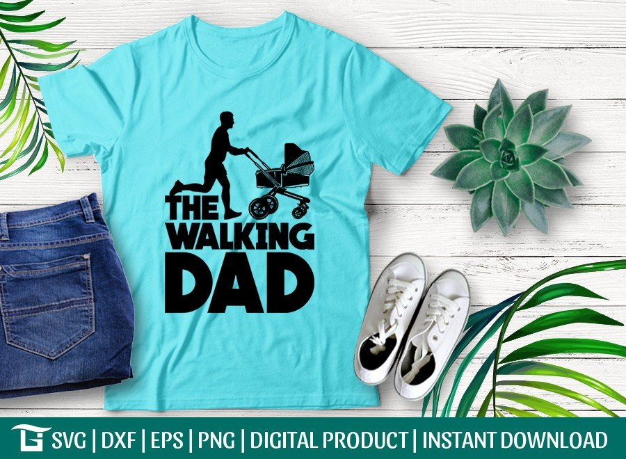 The Walking Dad with Stroller SVG | T-shirt Design