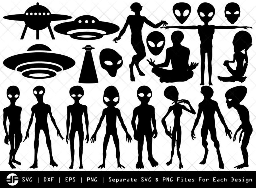 Alien SVG | Ufo SVG | Rocket Silhouette Bundle | Cut File