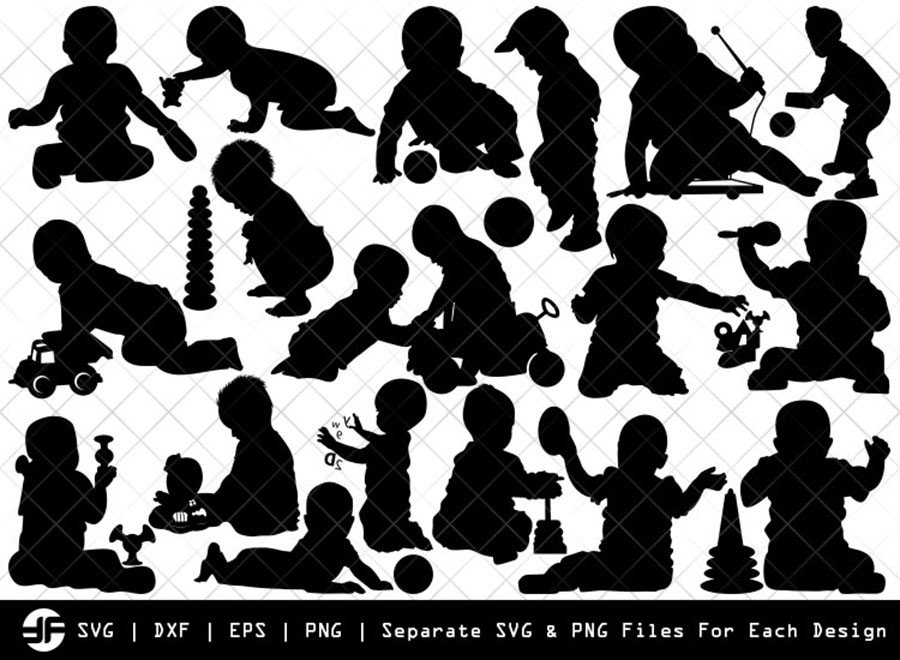 Baby Playing SVG | Kids Playing Silhouette Bundle | Cut File