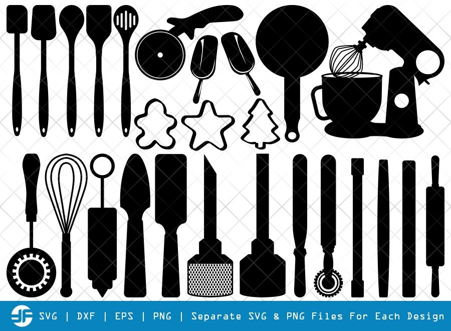Bakery SVG Cut Files | Baking Equipment Silhouette Bundle