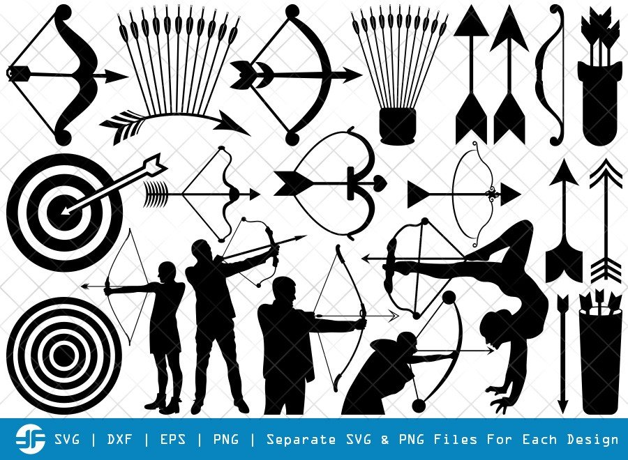 Bow And Arrow SVG Cut Files | Archery Silhouette Bundle