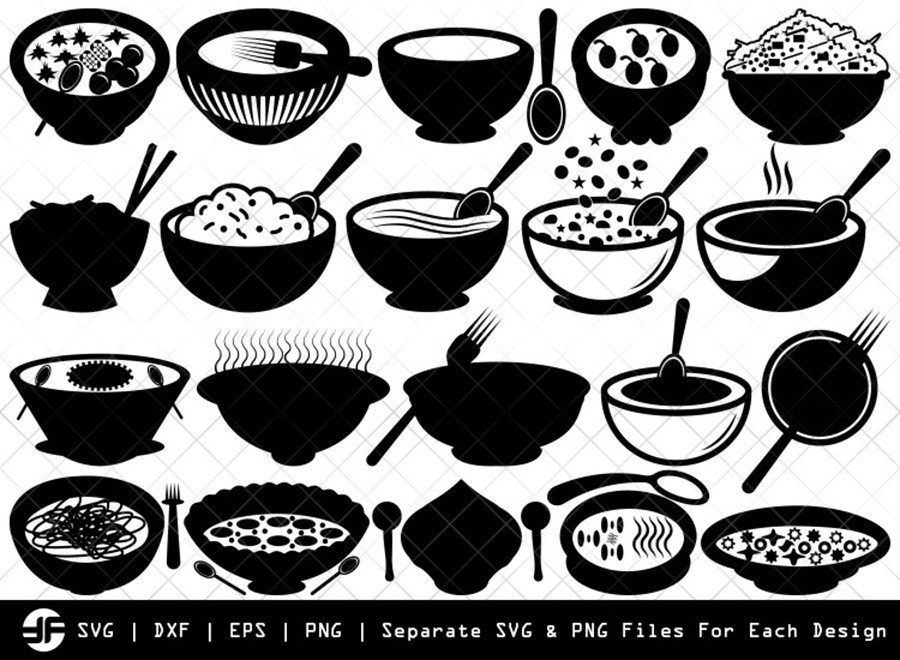 Bowl Healthy SVG   Silhouette Bundle   SVG Cut File