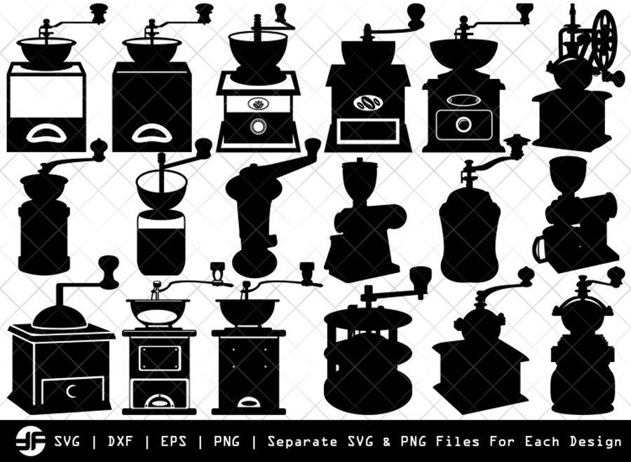 Coffee Mill SVG | Silhouette Bundle | SVG Cut File