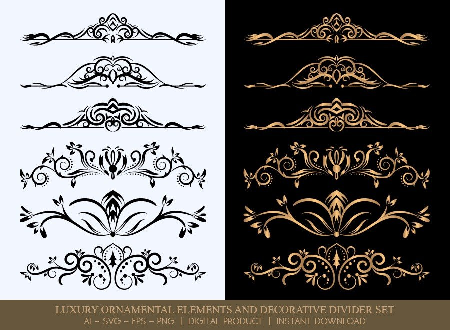 Luxury Decorative Divider Set SVG Cut Files | DDS005