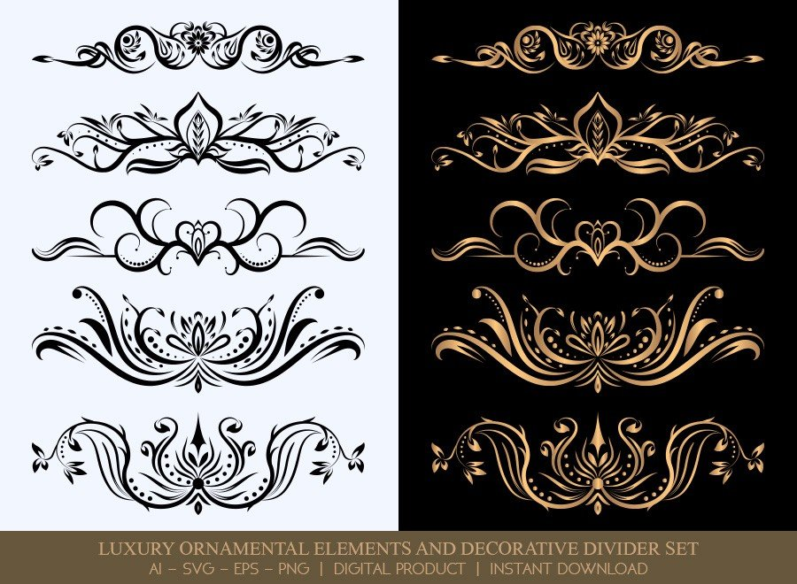 Luxury Decorative Divider Set SVG Cut Files | DDS006