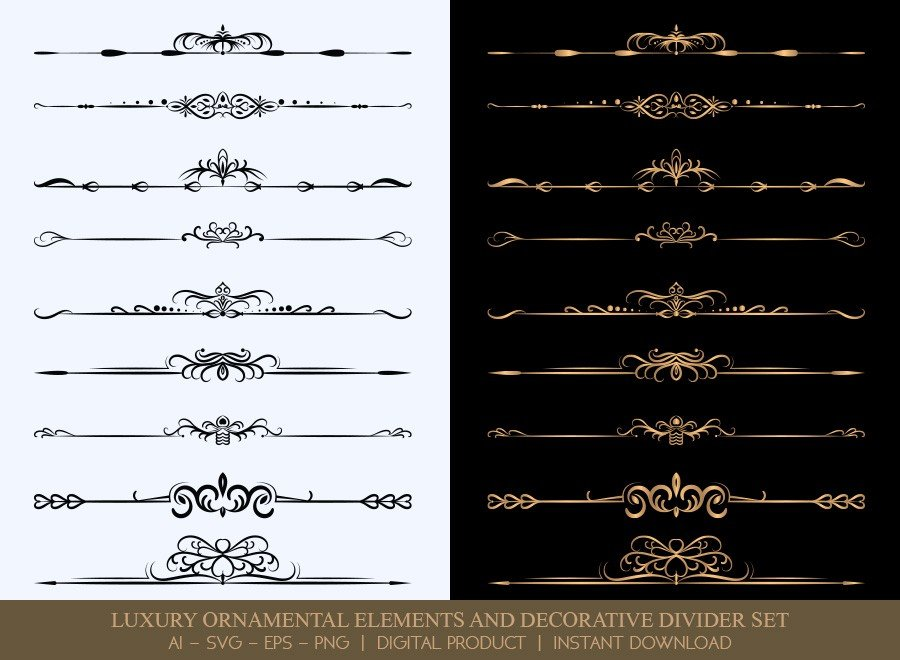 Luxury Decorative Divider Set SVG Cut Files | DDS010