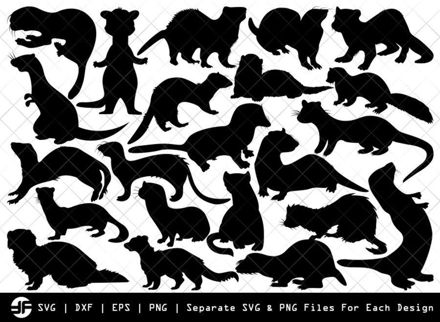 Ferret SVG | Animal SVG | Silhouette Bundle | SVG Cut File