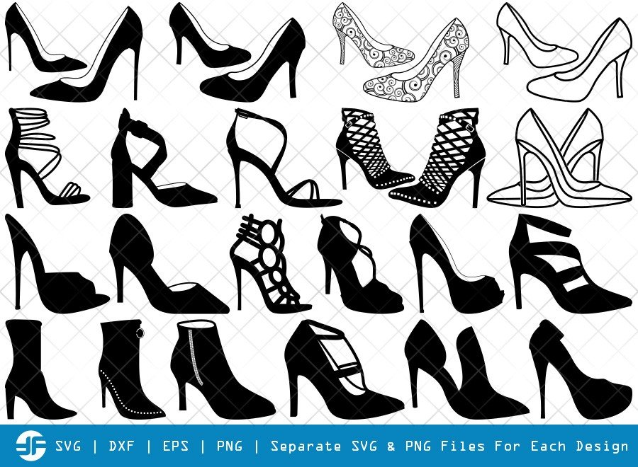 High Heels SVG Cut Files | Women Shoes Silhouette Bundle