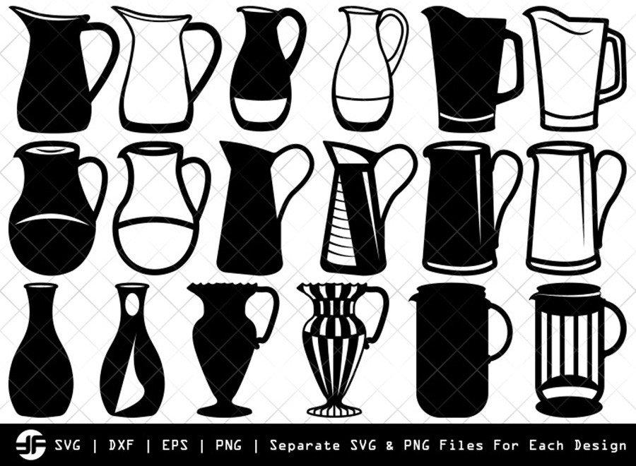 Jug SVG | Jar SVG | Silhouette Bundle | SVG Cut File
