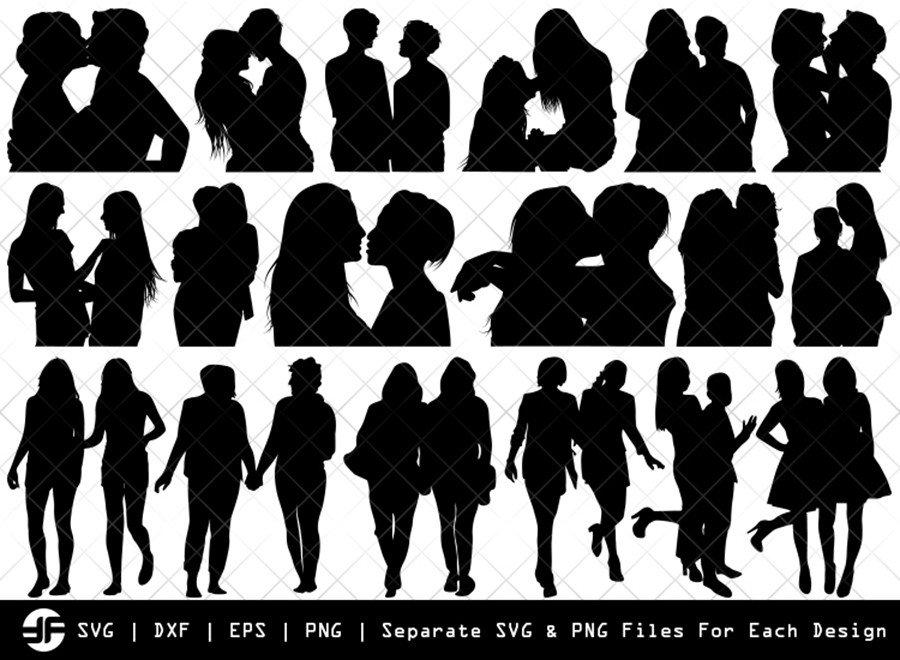 Lesbian Couple SVG | Lesbian Silhouette Bundle | Cut File