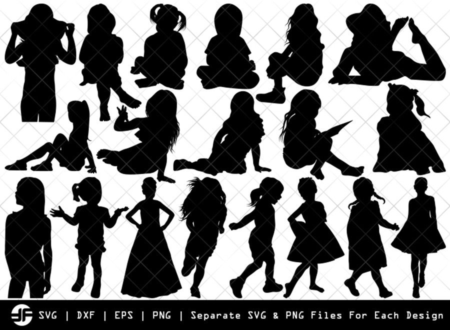 Little Girl SVG | Little Girl Silhouette Bundle | SVG Cut File