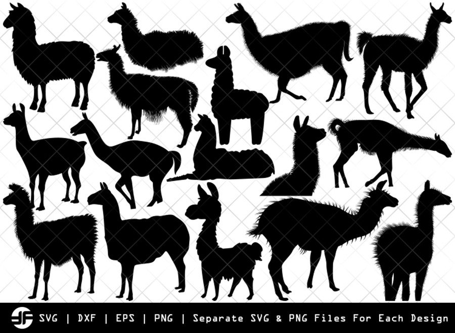 Llama SVG | Animal SVG | Silhouette Bundle | SVG Cut File