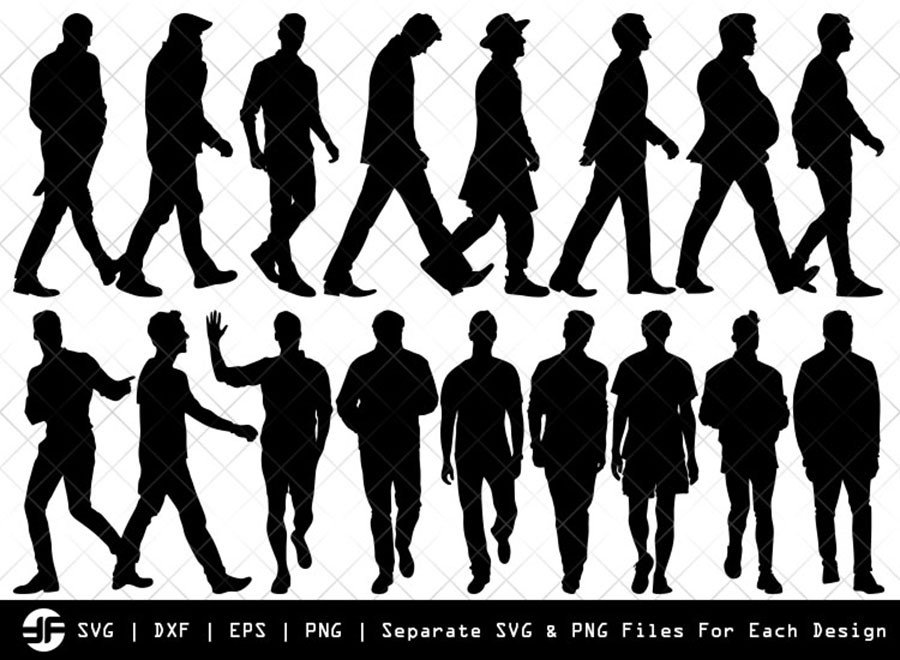 Man Walking SVG | Silhouette Bundle | SVG Cut File