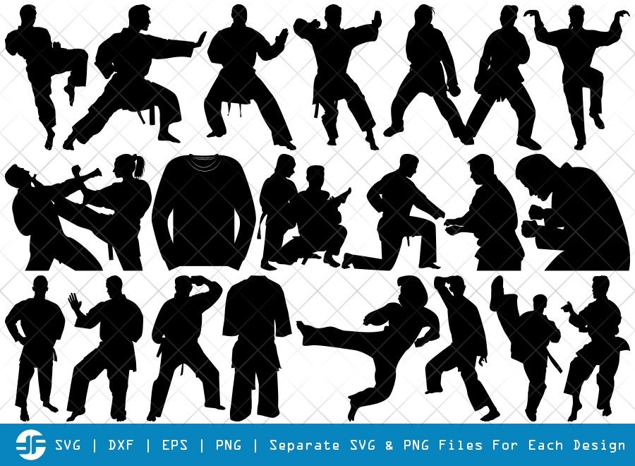 Martial Arts SVG Cut Files | Karate Silhouette Bundle