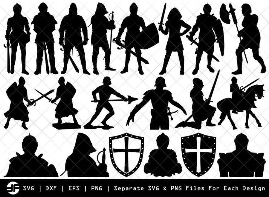 Medieval Knight SVG | Silhouette Bundle | SVG Cut File