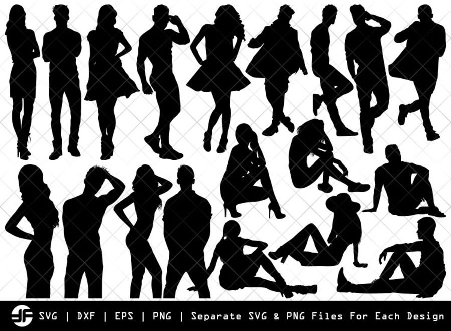 Models SVG | Models Silhouette Bundle | SVG Cut File