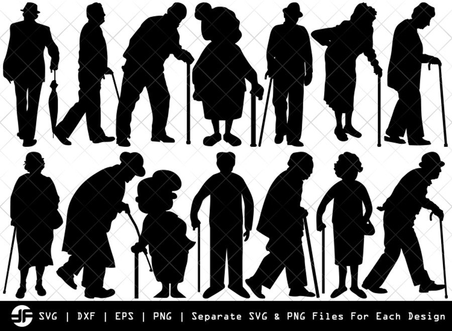 Old Man & Old Woman SVG | Silhouette Bundle | SVG Cut File