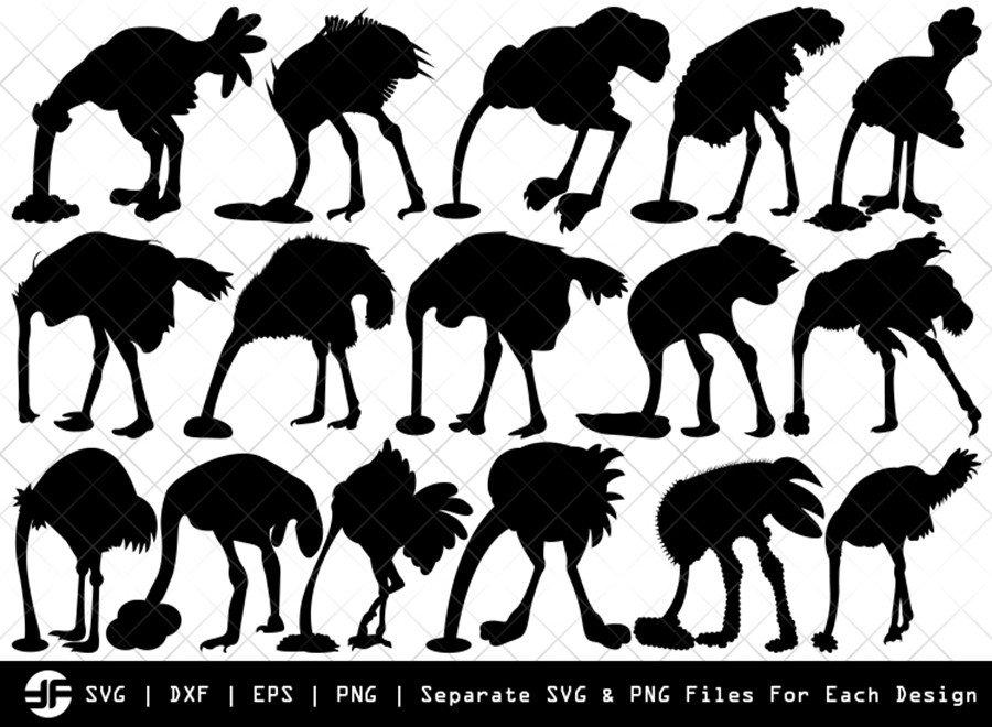 Ostrich Head In Sand SVG | Silhouette Bundle | SVG Cut File