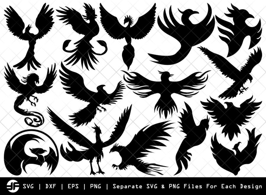 Phoenix SVG | Animal SVG | Silhouette Bundle | SVG Cut File