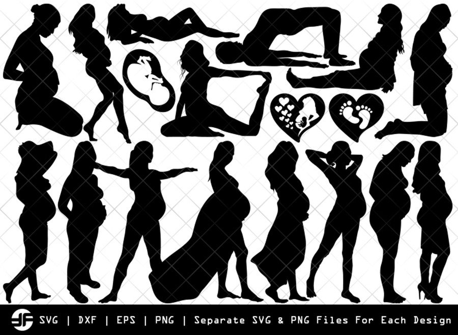 Pregnant Woman SVG | Silhouette Bundle | SVG Cut File