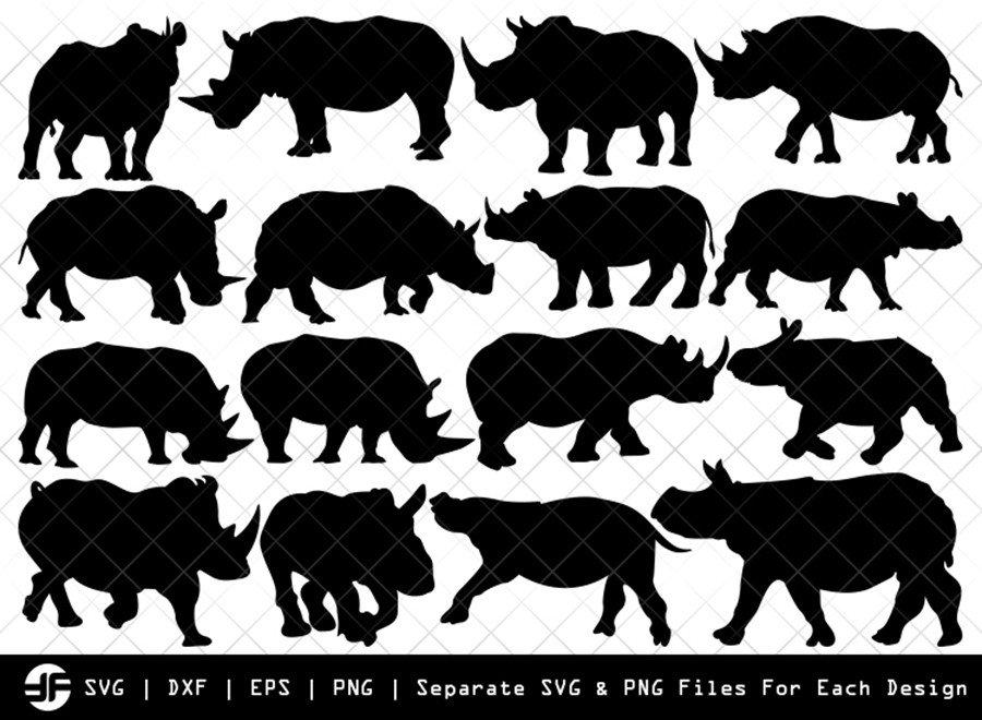 Rhinos SVG | Animal SVG | Silhouette Bundle | SVG Cut File