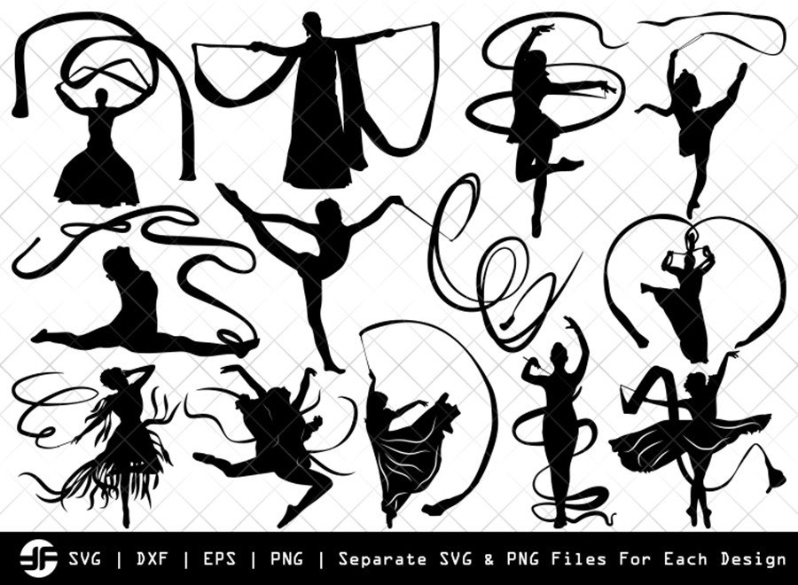 Ribbon Dancer SVG | Ballerina | Silhouette Bundle | Cut File