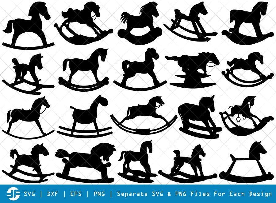 Rocking Horse SVG Cut Files | Little Horse Silhouette Bundle