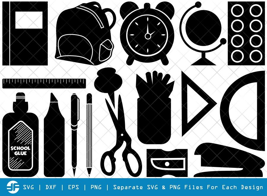 School Supplies SVG Cut Files | School Bag Silhouette Bundle