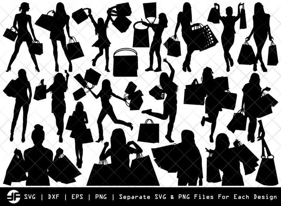 Shopping Girl SVG | Silhouette Bundle | SVG Cut File