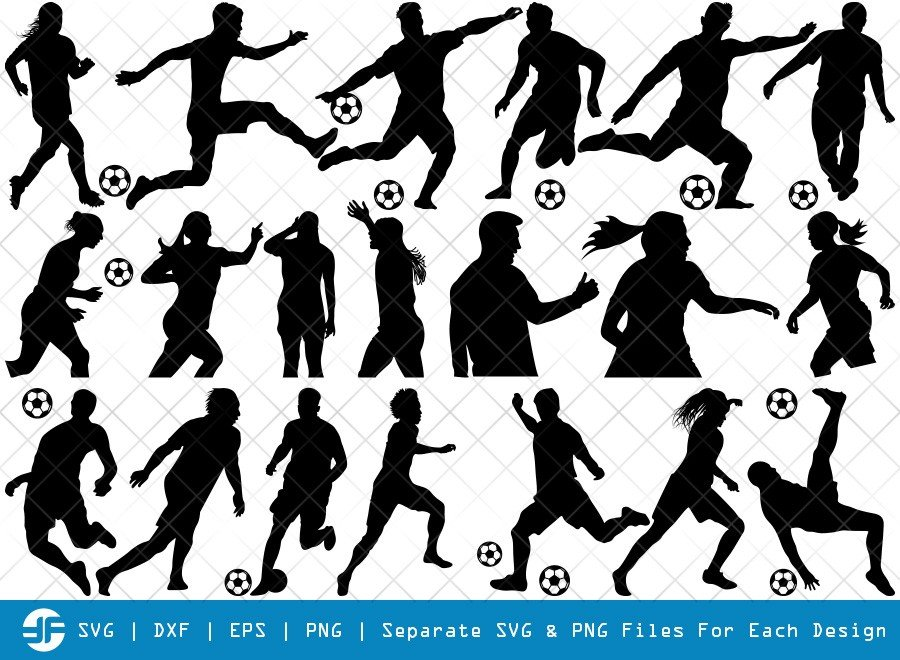 Soccer Player SVG Cut Files | Soccer Sport Silhouette Bundle