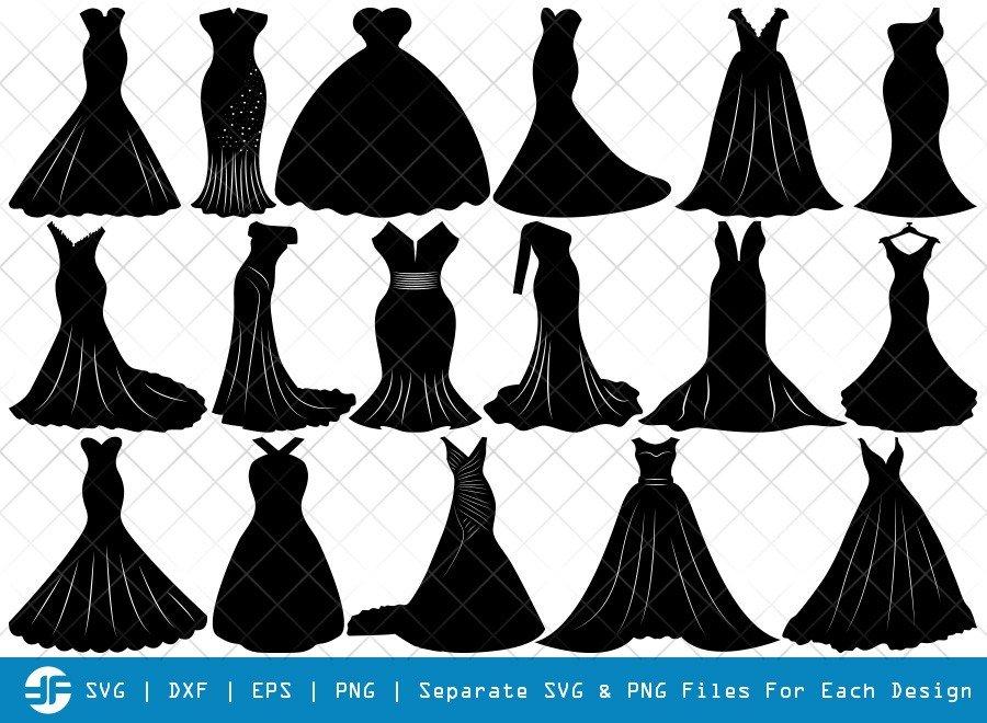 Wedding Dress SVG Cut Files | Sexy Dress Silhouette Bundle