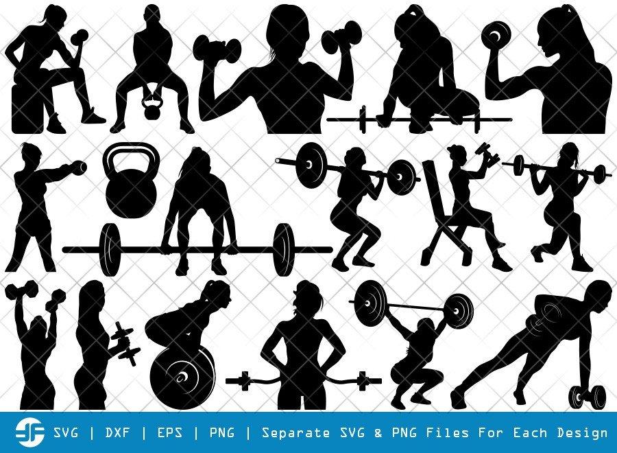 Weight Lifting Women SVG Cut Files | Silhouette Bundle