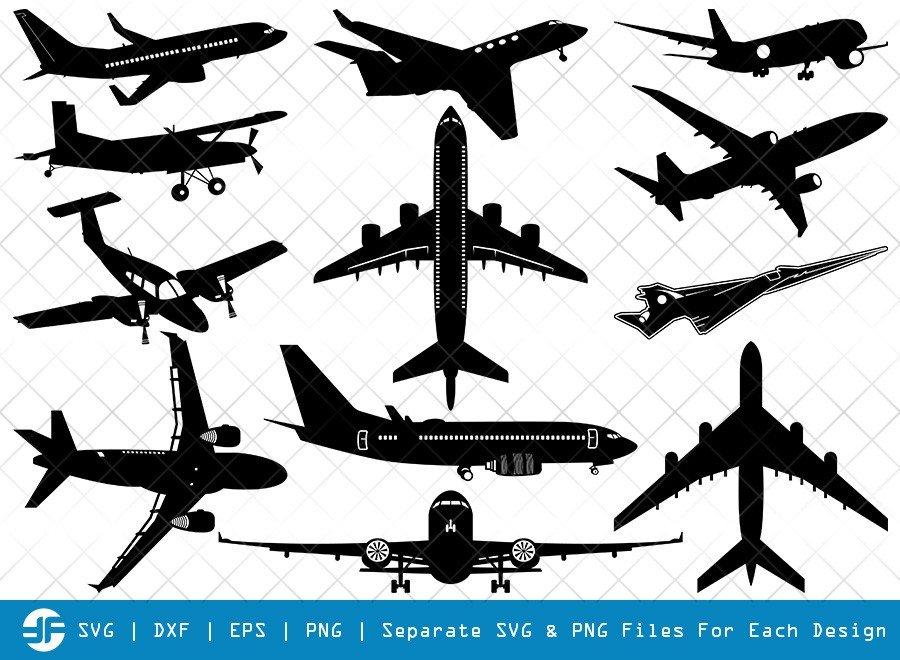 Airplane SVG Cut Files | Flying Plane Silhouette Bundle