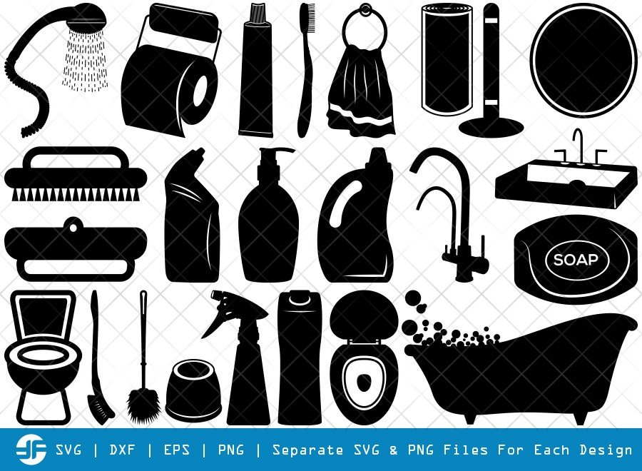 Bathroom Accessories SVG Cut Files | Silhouette Bundle