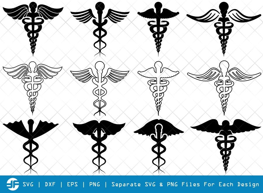 Caduceus Symbol SVG Cut Files | Caduceus Silhouette