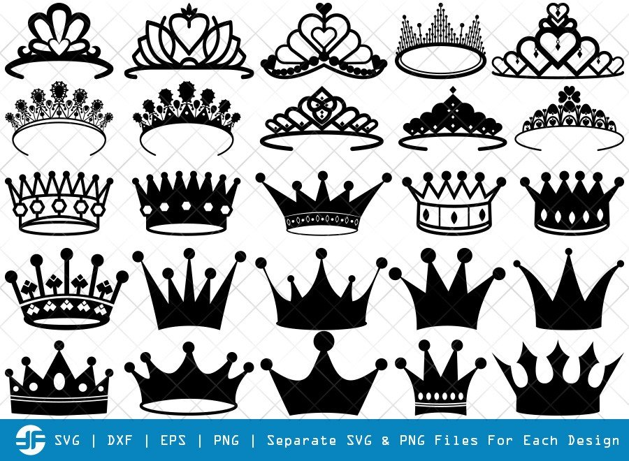 Crown SVG Cut Files | Princess Crown Silhouette Bundle