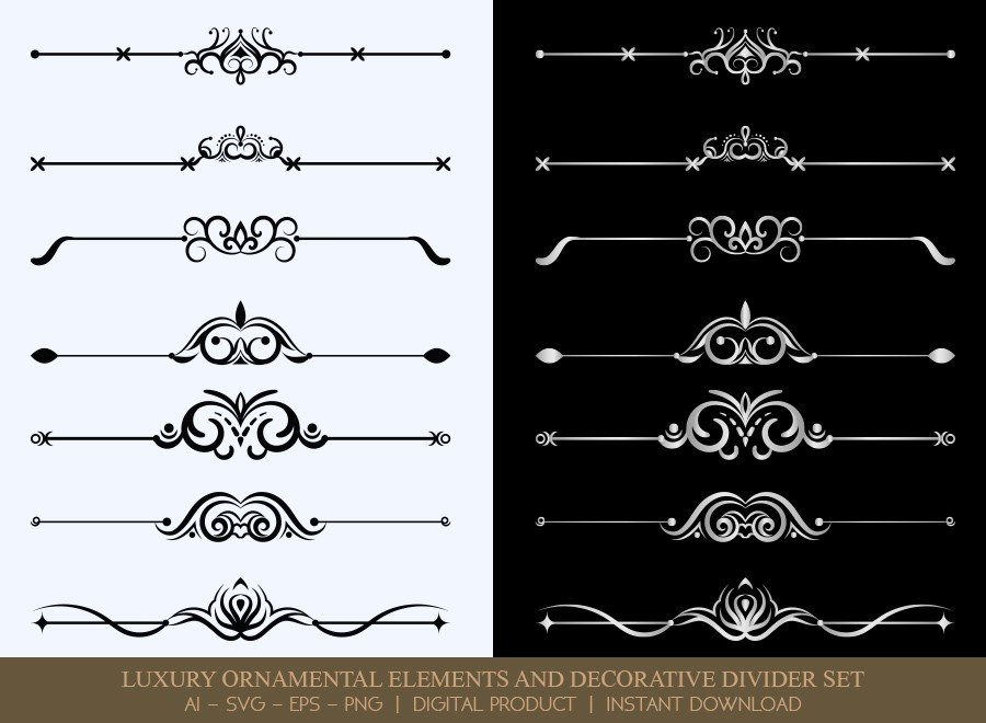 Luxury Decorative Divider Set SVG Cut Files | DDS042
