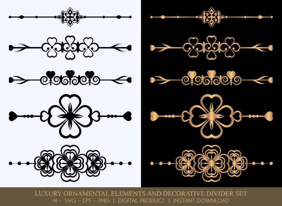 Luxury Decorative Divider Set SVG Cut Files | DDS056