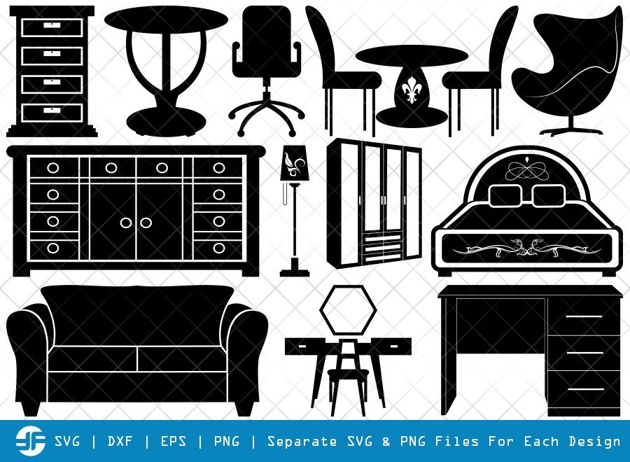 Furniture SVG Cut Files | Furniture Silhouette Bundle