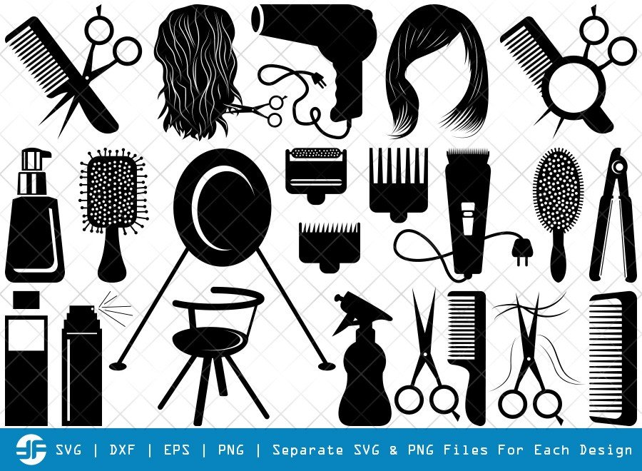 Hair Salon SVG Cut Files | Hairdresser Tools Silhouette Bundle