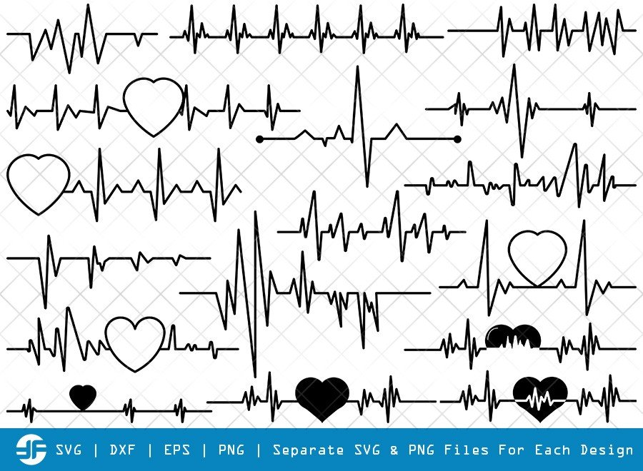 Heartbeat SVG Cut Files | Heartbeat Silhouette Bundle