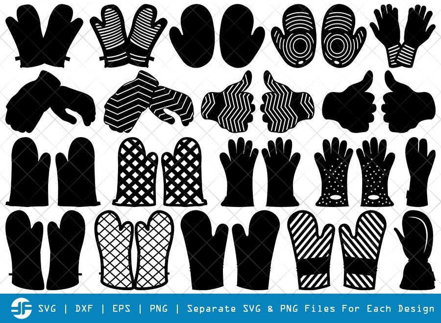 Heat Protective Mitten SVG Cut Files | Mitts Silhouette Bundle