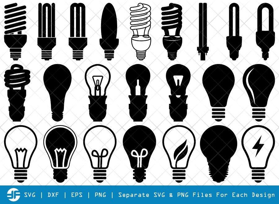 Light Bulb SVG Cut Files | Energy Saving Light Silhouette