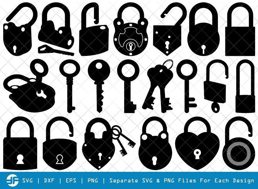 Lock And Key SVG Cut Files | Lock Silhouette Bundle
