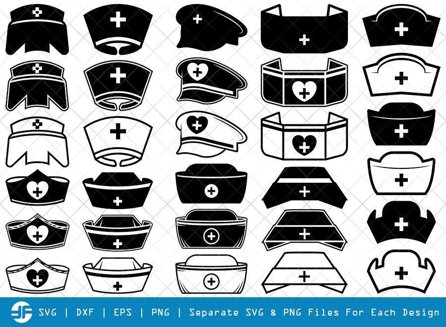 Nurse Hat SVG Cut Files | Medical Nurse Hat Silhouette