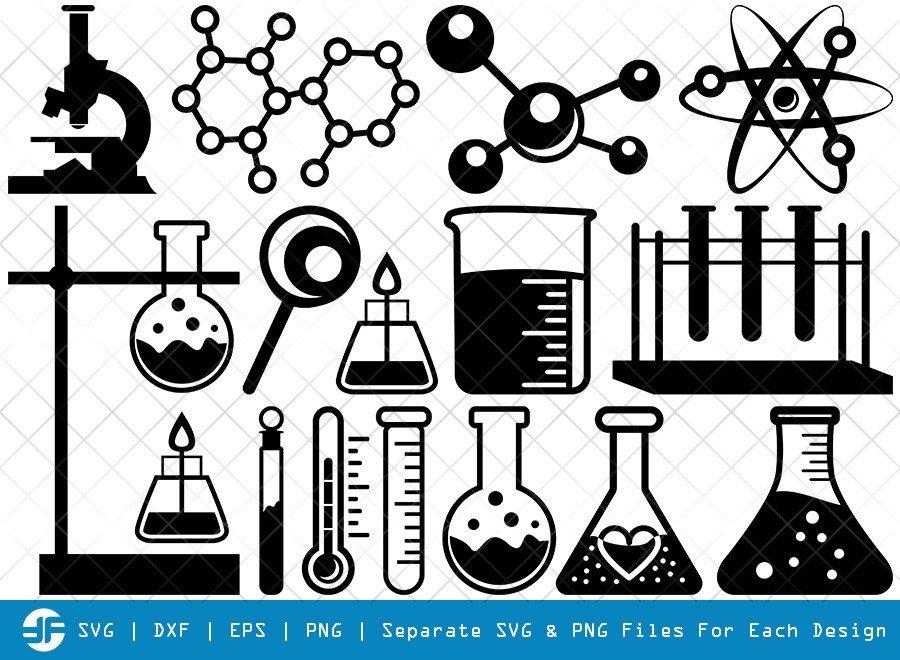 Science SVG Cut Files | Laboratory Silhouette Bundle